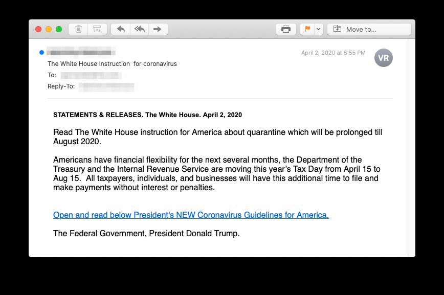 Fake Corona Email