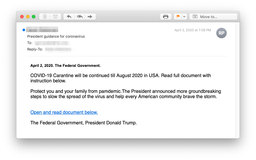 Fake Trump Email