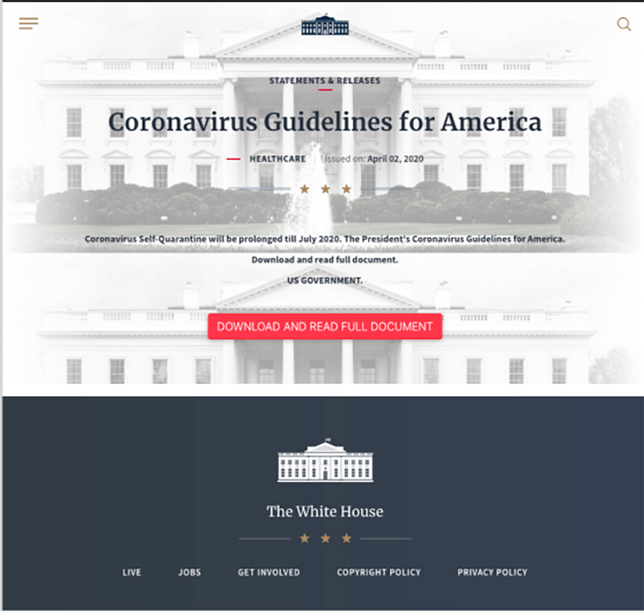 Fake White House Website
