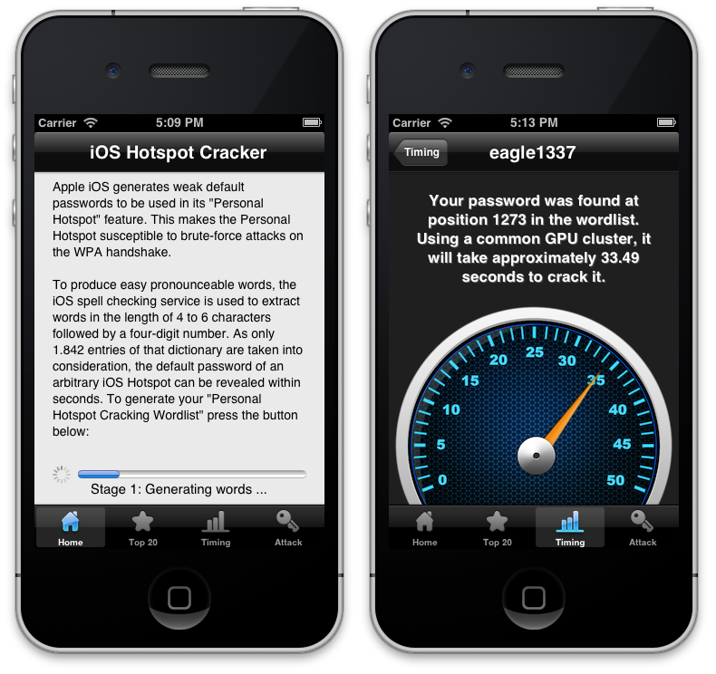Cracking iPhone Hotspot password in 50 Seconds