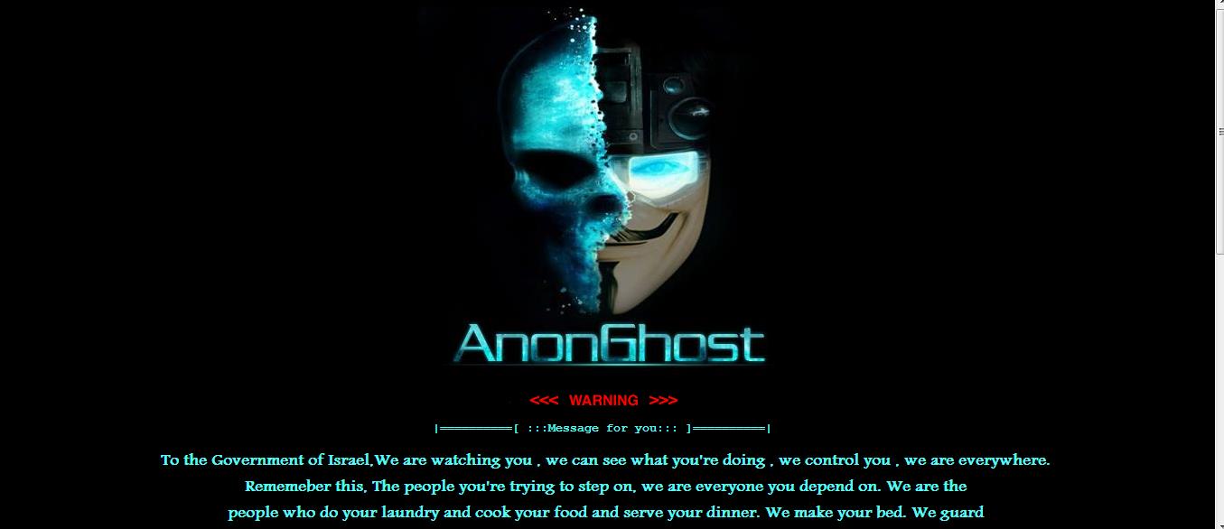Israel Websites Hacked by AnonGhost