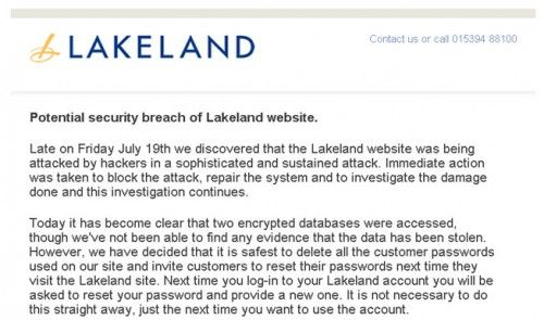 Lakeland hacked, all customer passwords deleted