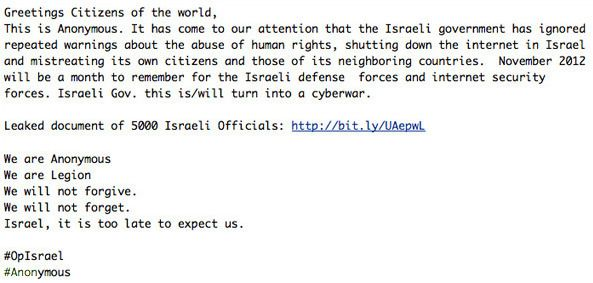 5000 Israeli officials Information leaked by Anonymous