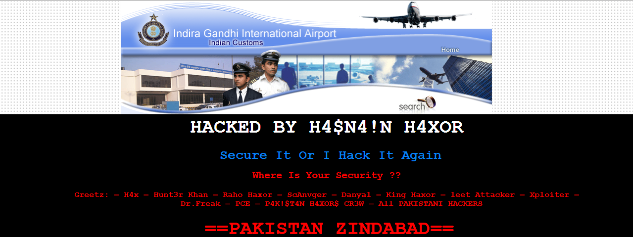 Indira Gandhi International Airport hacked by Pakistani Hacker