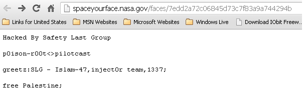 NASA 'Space your Face' domain hacked