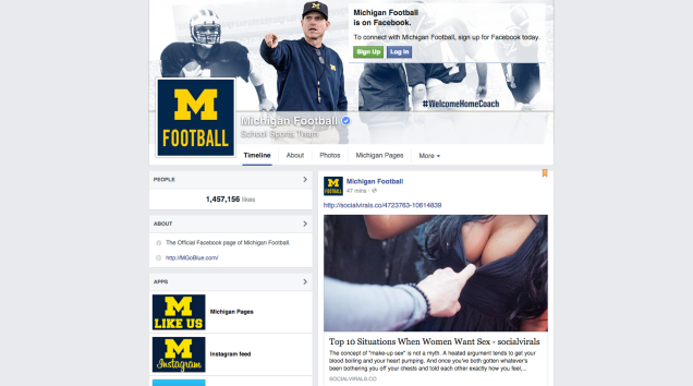 Michigan Sports' Facebook Pages Hacked, Overloaded With Butts