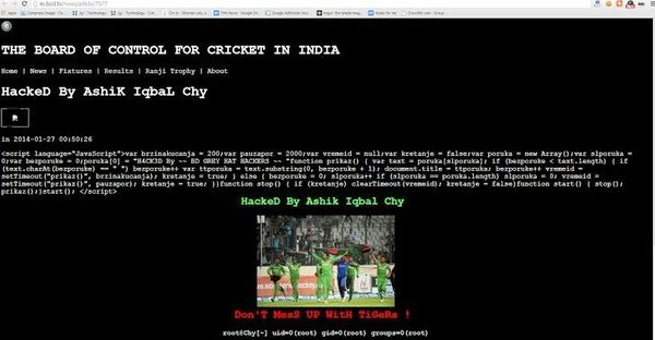 BCCI website hacked and Defaced by Bangladeshi Hackers