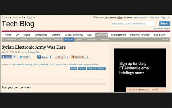 Financial Times hacked by Syrian Electronic Army