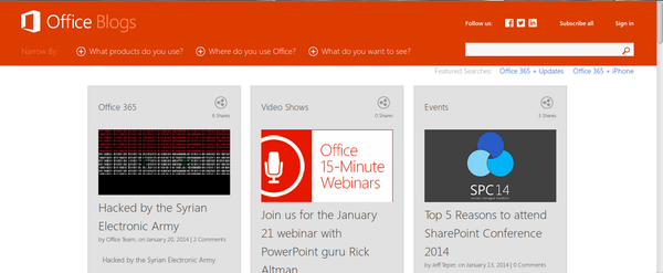 Microsoft's Office blog hacked by Syrian Electronic Army