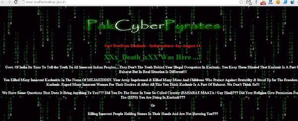 Pakistani Hacker Hacked Southern Railway Website