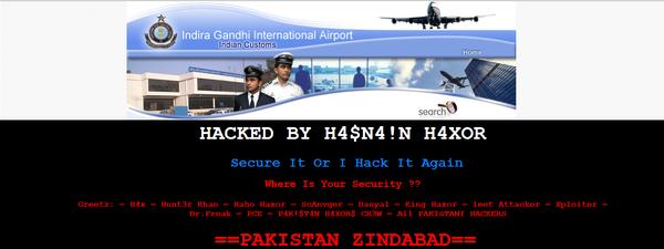 Indira Gandhi International Airport hacked by Pakistani Hacker