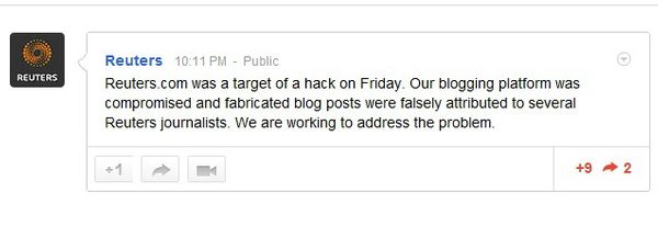 Reuters Hacked, Blog Hijacked